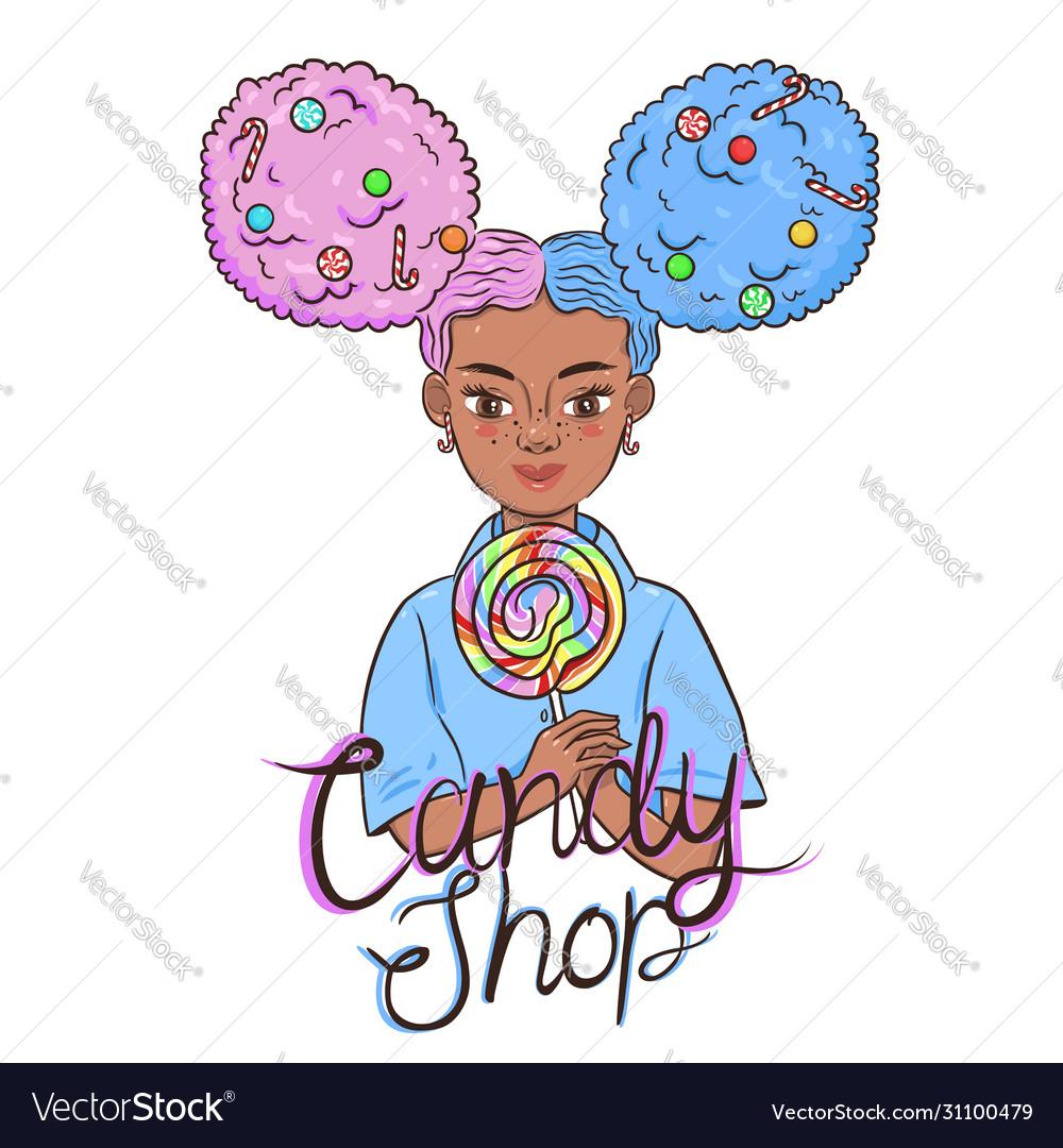 Emblem with a child holding a lollipop sweet