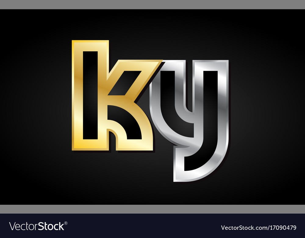Gold silver letter joint logo icon alphabet design