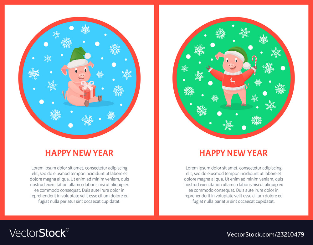 Happy new year pig holiday design postcard
