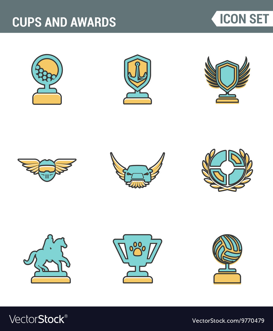 Icons line set premium quality of cups and awards vector image