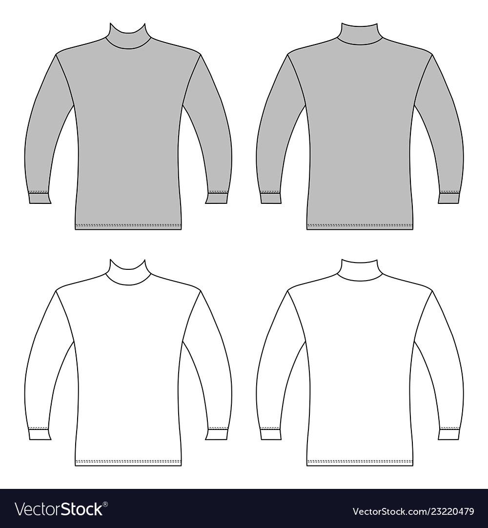 Long Sleeve T Shirt Outlined Template Royalty Free Vector