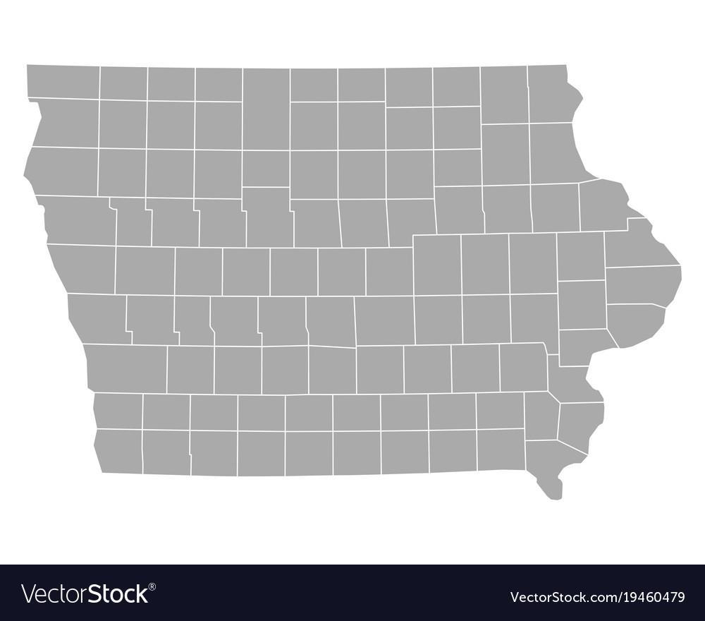 Map of iowa Royalty Free Vector Image - VectorStock