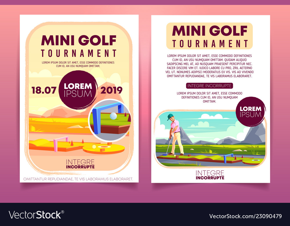 mini golf tournament ad flyer template royalty free vector