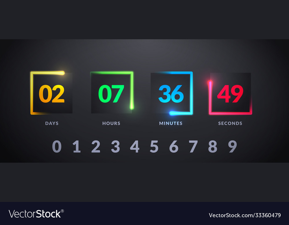 Modern futuristic counter countdown with colorful