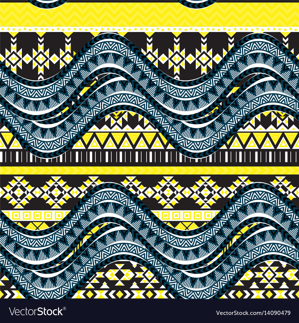 Sea wave background ethnic seamless pattern