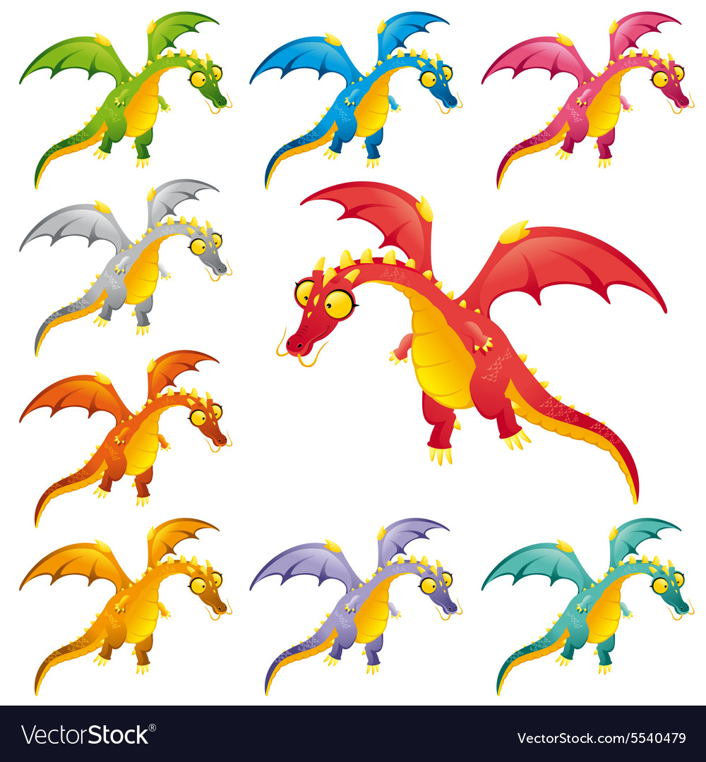 Set of colored dragons