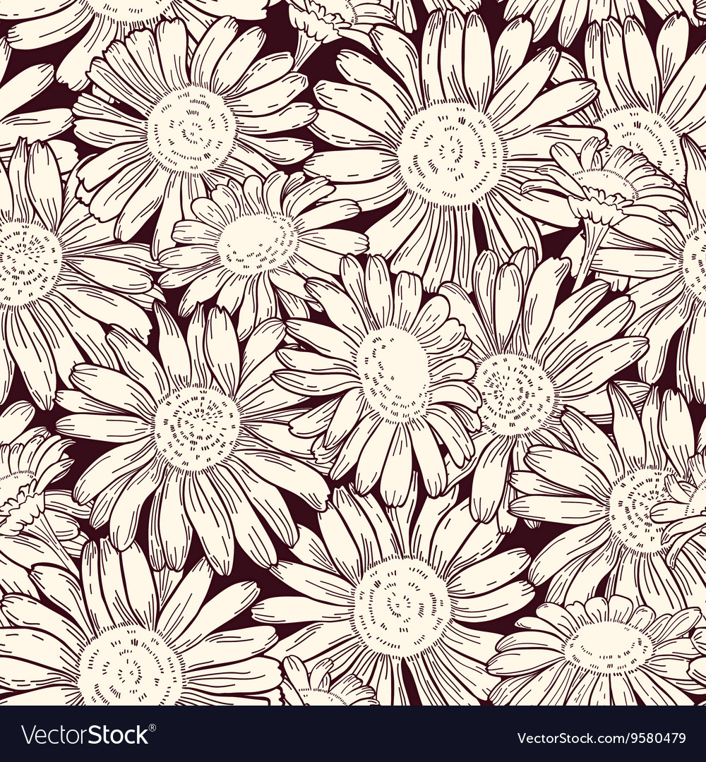 Set of four seamless daisy patterns