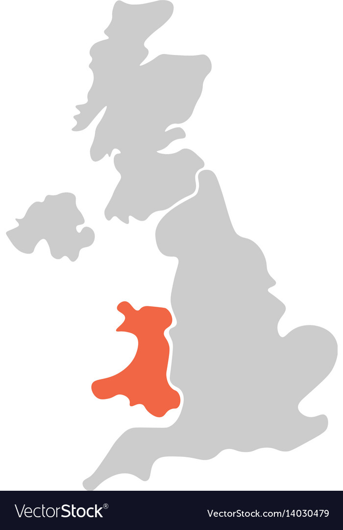 Simplified hand-drawn blank map of united kingdom