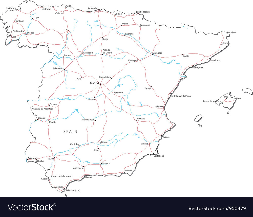 Map Of Spain Download Free.Spain Black White Map Royalty Free Vector Image
