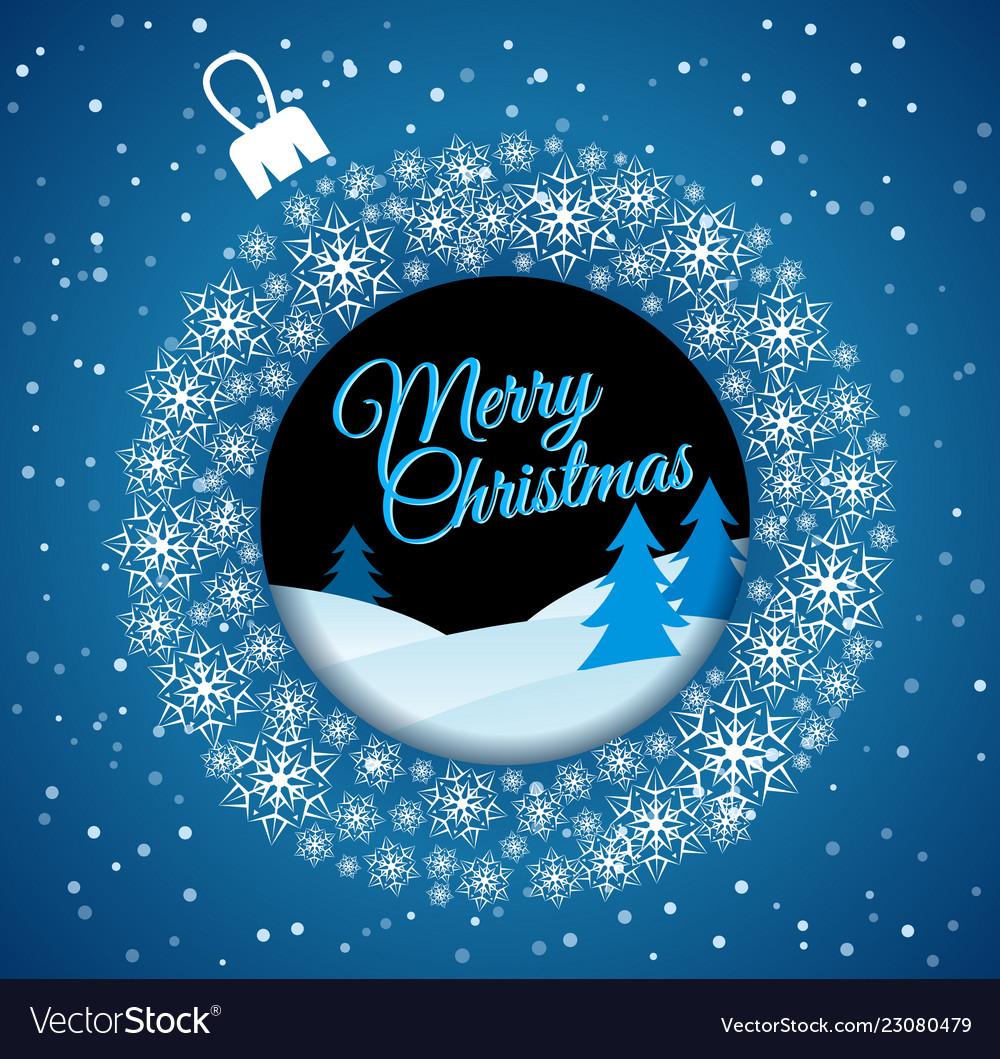 Square blue christmas card white christmas ball
