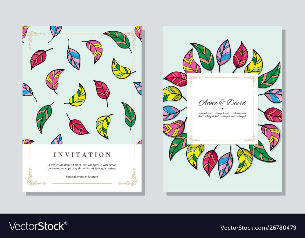 Wedding vintage invitation card templates set