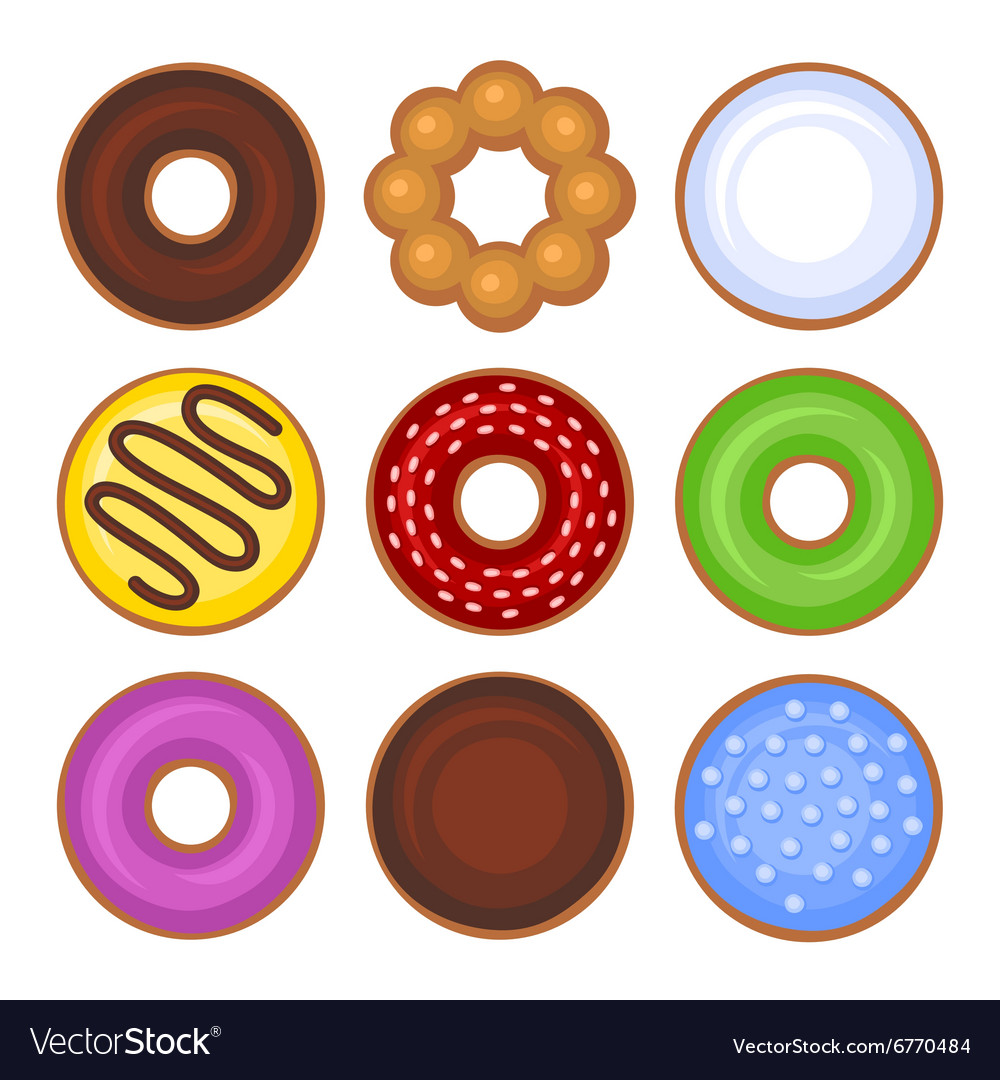 Donuts Collection Icons Set on White Background