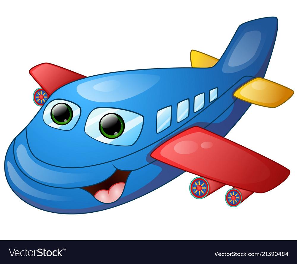 Happy Plane Cartoon Royalty Free Vector Image