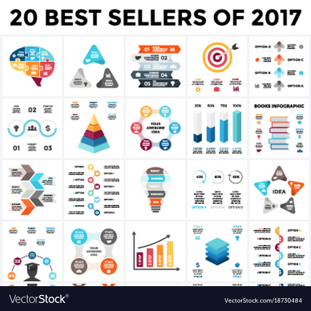 Infographics set 20 best sellers of 2018