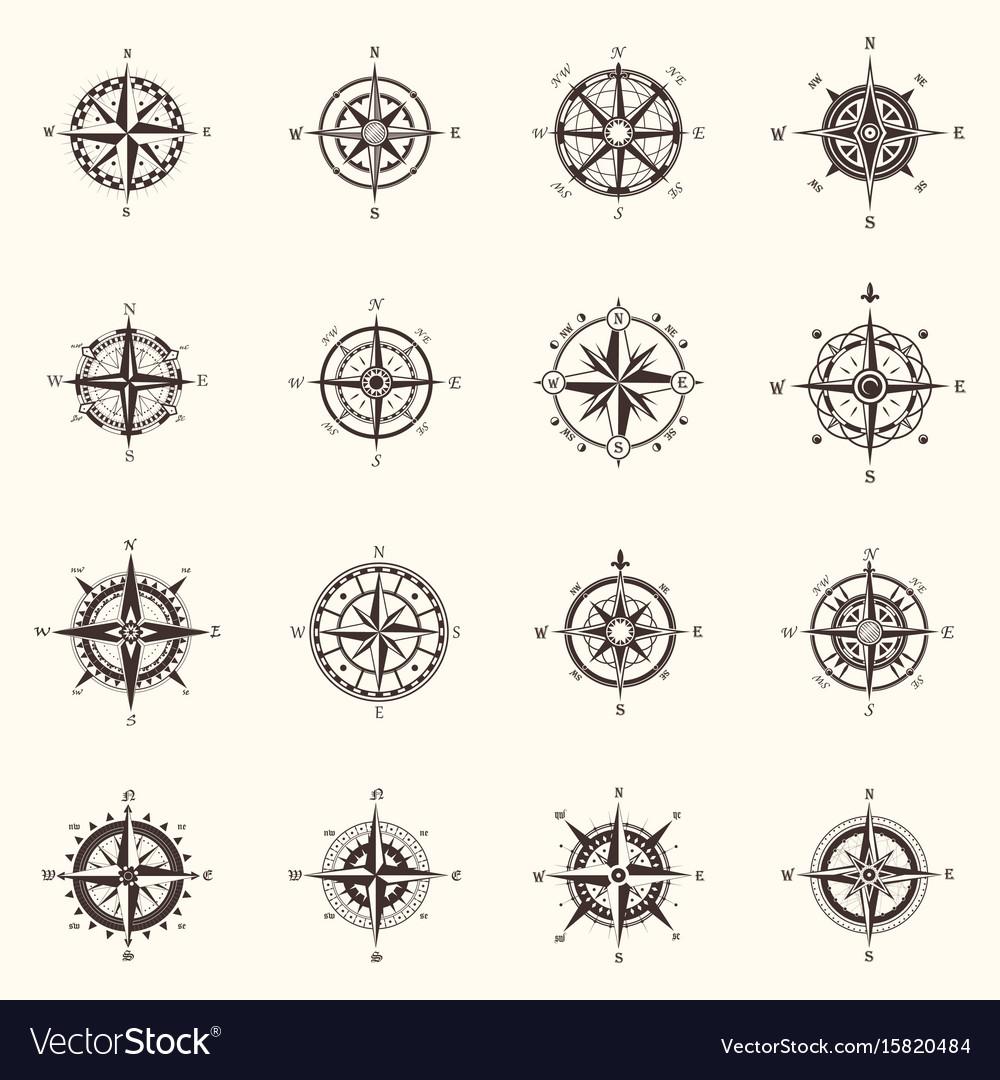 Old compass or ocean sea navigation wind rose vector image