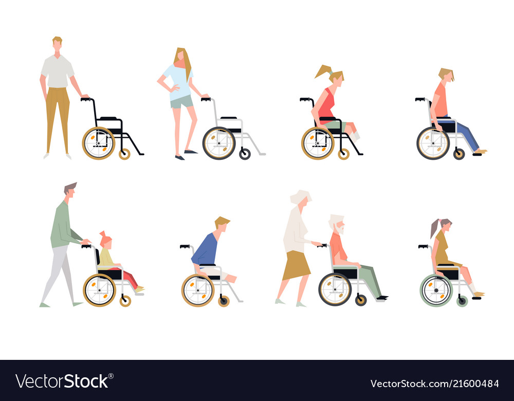 People in a wheelchair disabled and handicapped