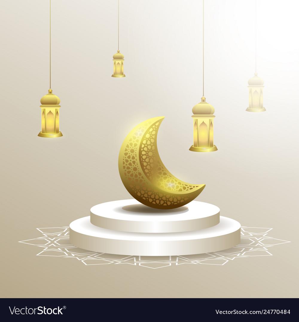 Ramadan kareem with moon and lantern background