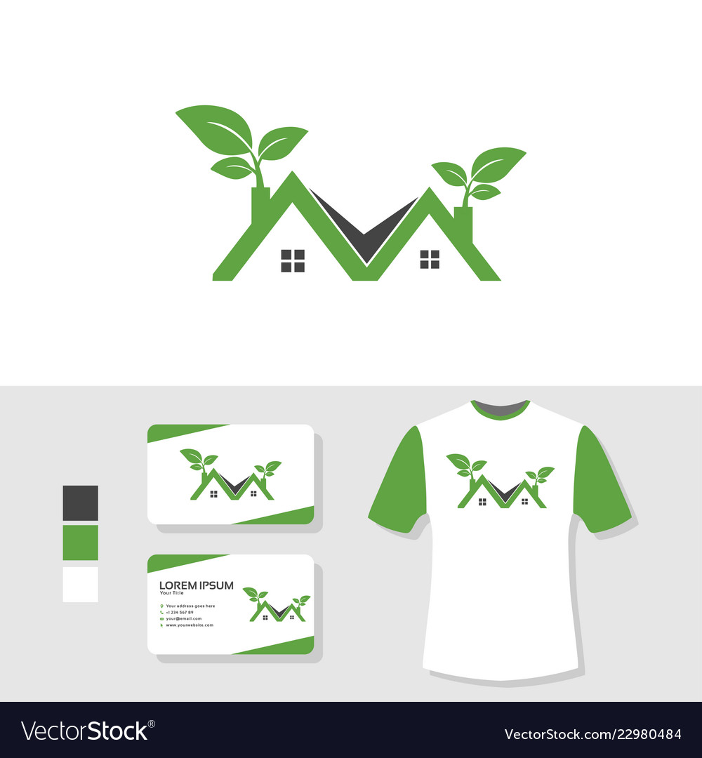 Real estate nature logo design with business card
