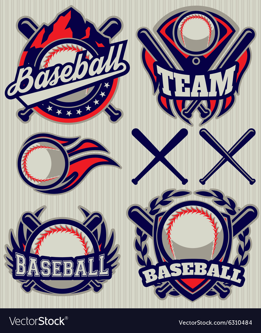 Set sports template with ball and bats