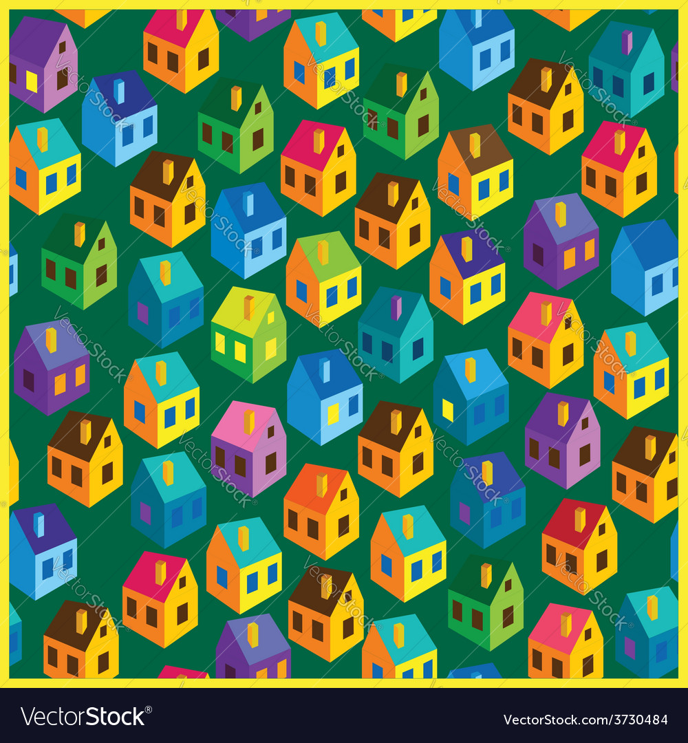 Summer houses pattern vector image