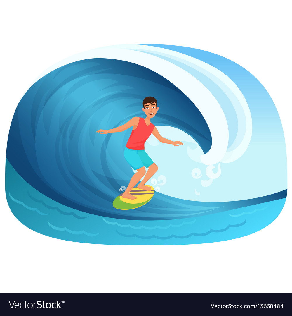 Young man riding a surfboard in the wave