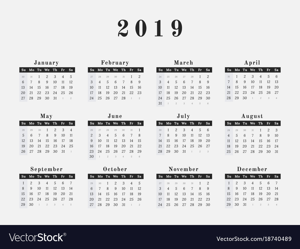 Calendar 2019 Year 2019 year calendar horizontal design Royalty Free Vector