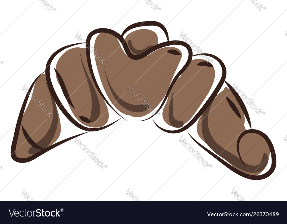 Brown croissant on white background