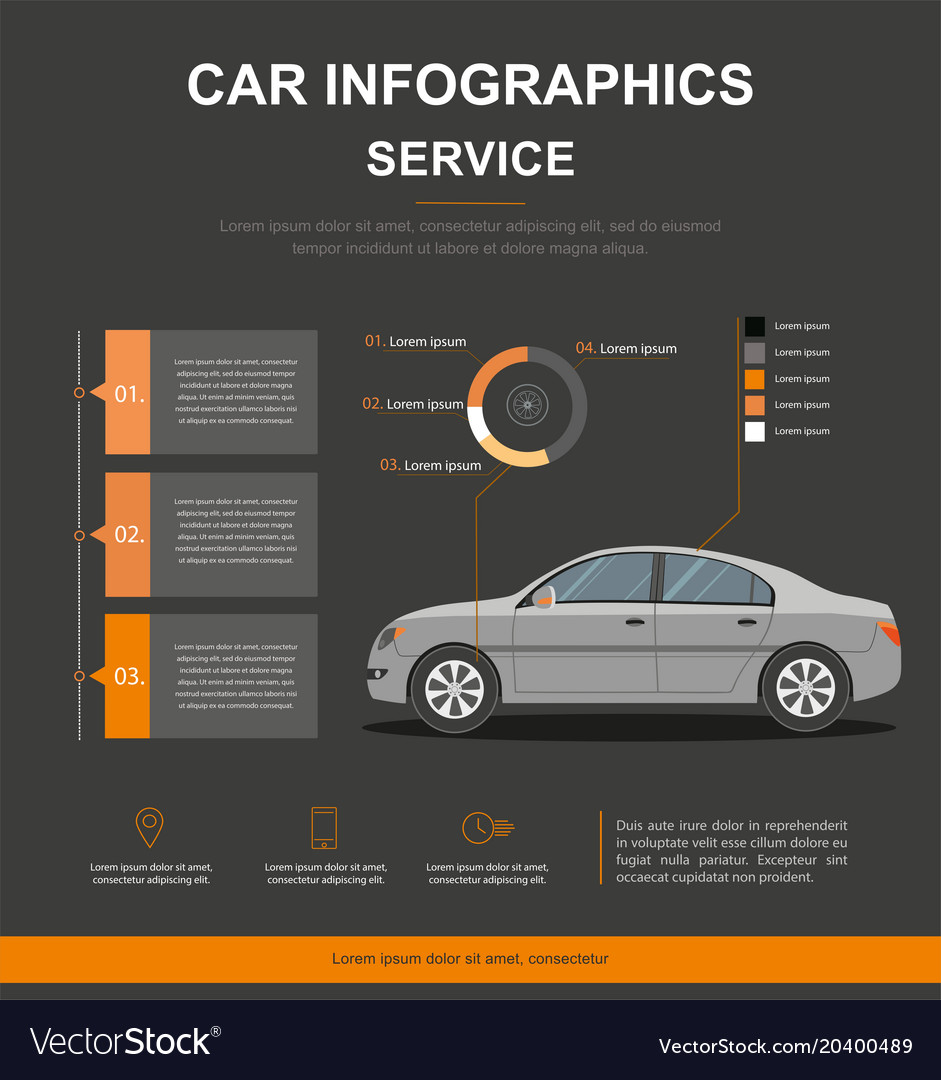 Business Infographic With Car Auto Service Vector Image