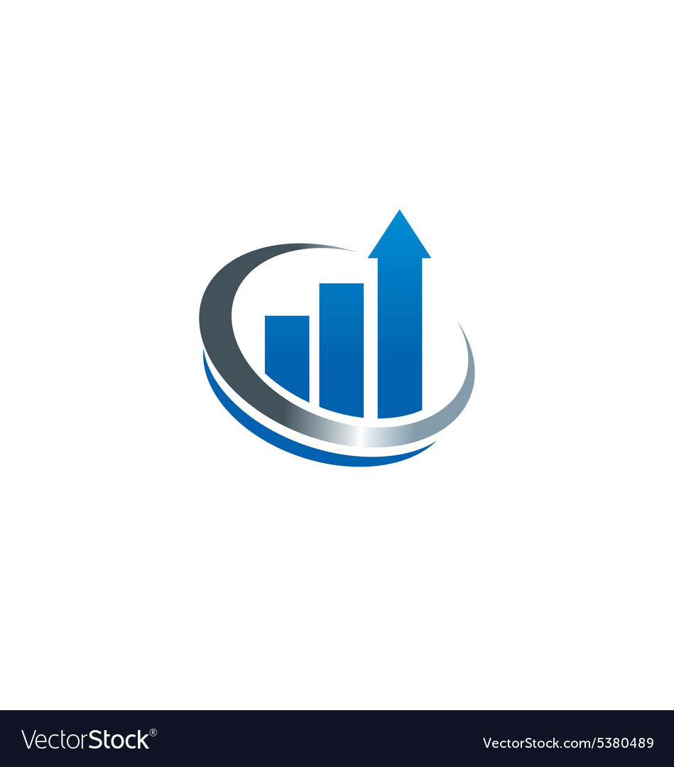 Chart growth business finance cash logo vector image