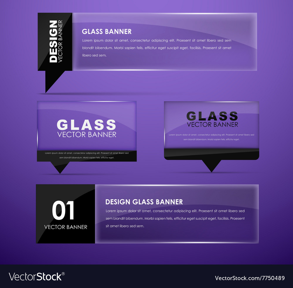 Design glass banners with text