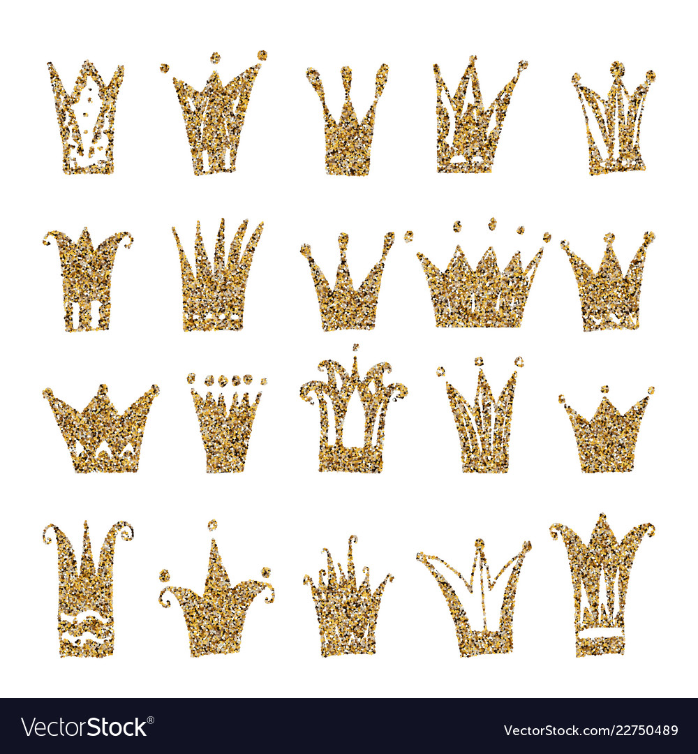 Gold crown set isolated on white background