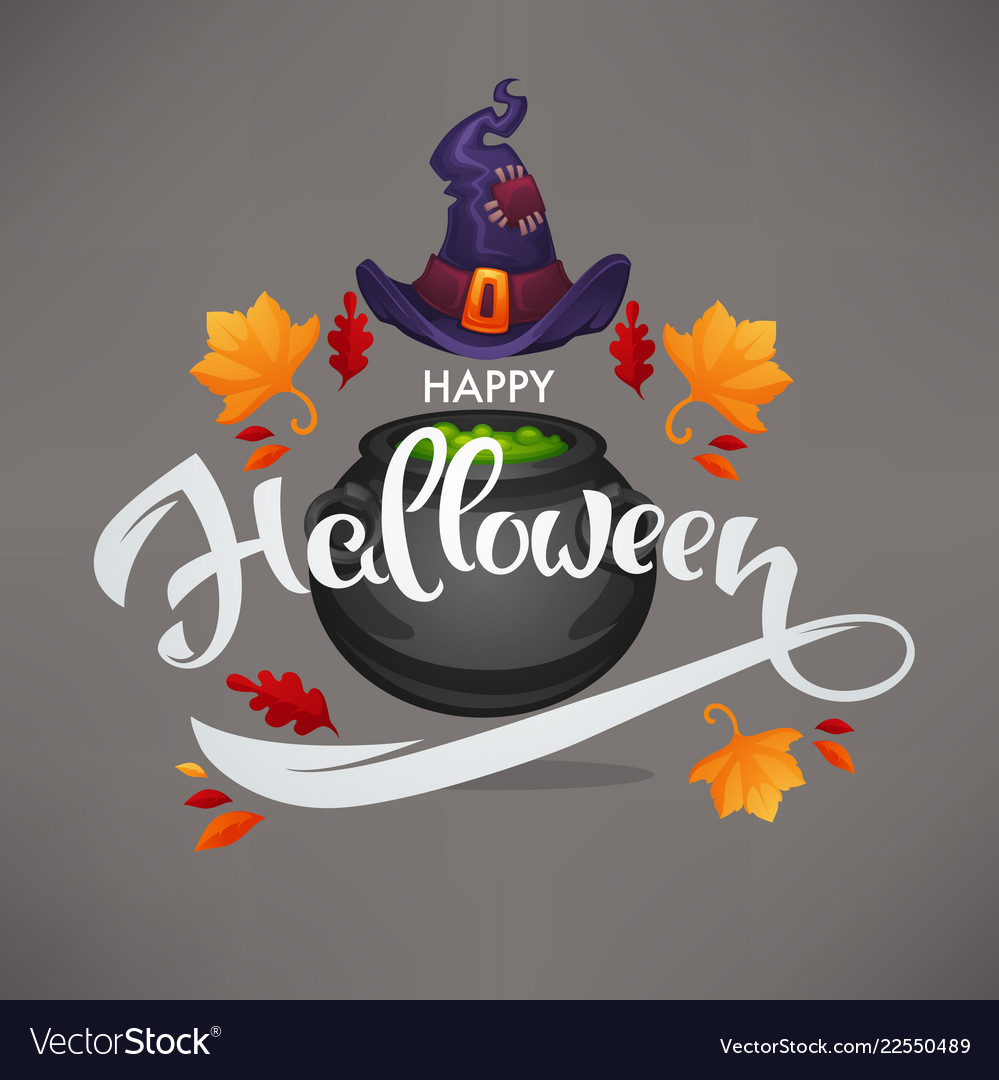 Happy halloween greeting or invitation with hand
