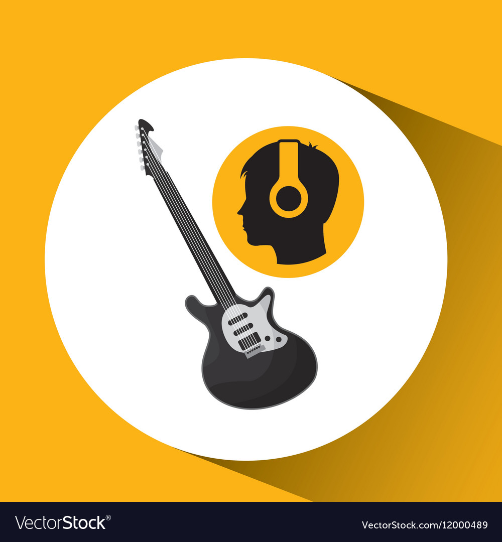 Head silhouette listening music guitar electric vector image