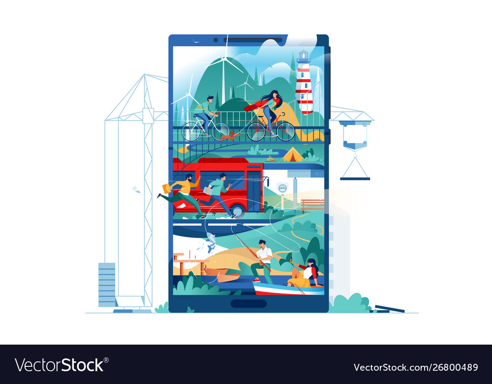 Modern building people live using city in phone