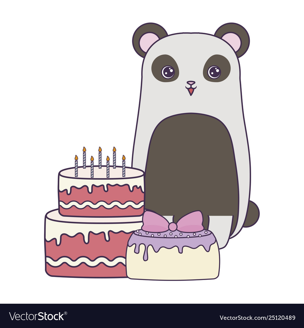 Awesome Panda Bear With Cakes Birthday Royalty Free Vector Image Funny Birthday Cards Online Inifofree Goldxyz