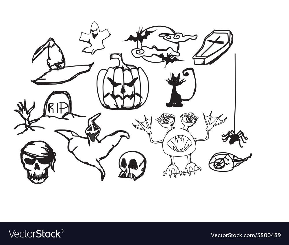 Set with halloween doodles vector image