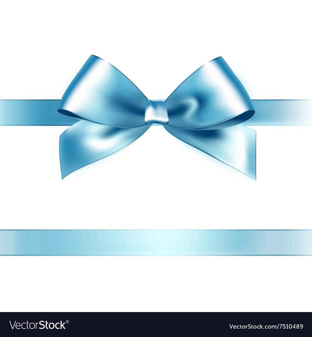 Shiny light blue satin ribbon on white background vector image