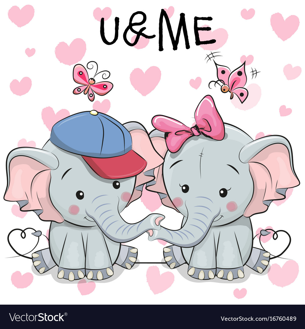 Two cute cartoon elephants and butterflies
