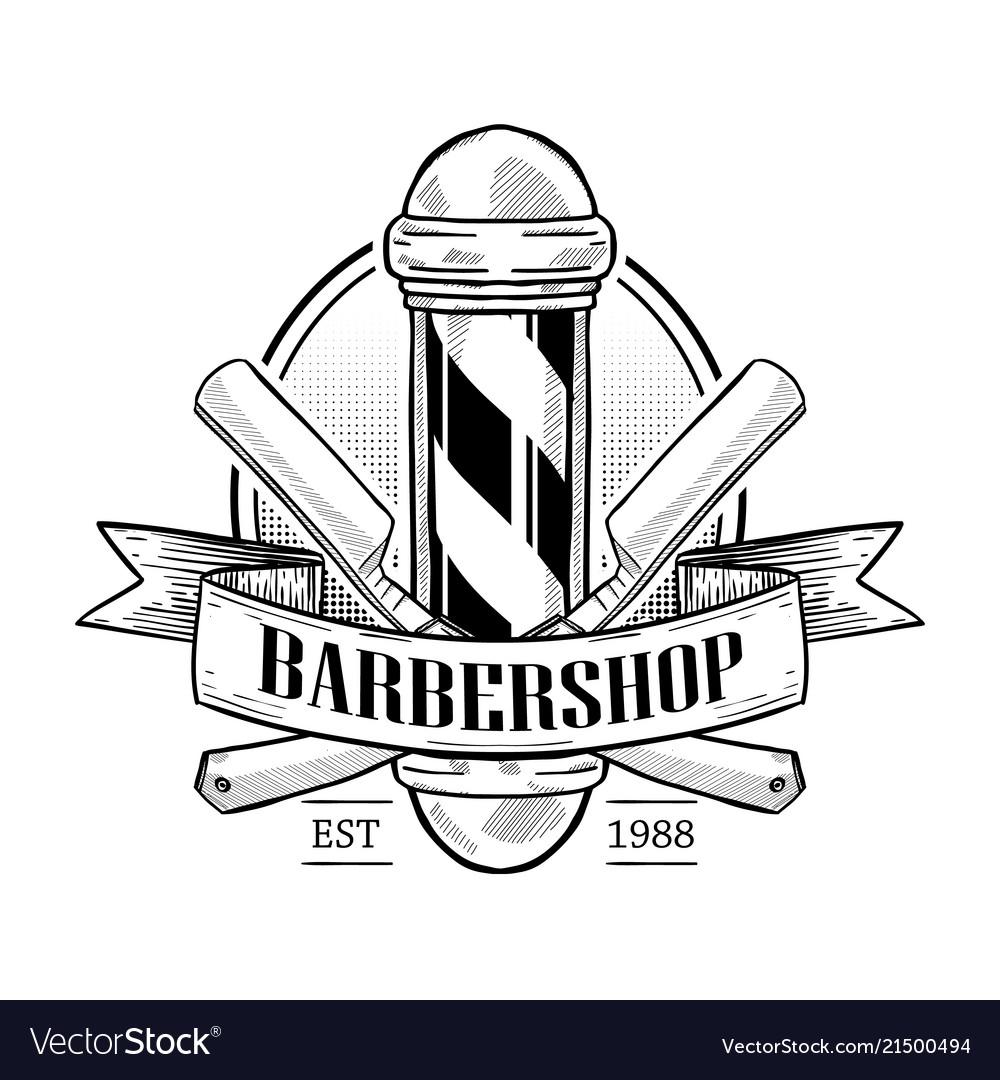 Barbershop logo with pole