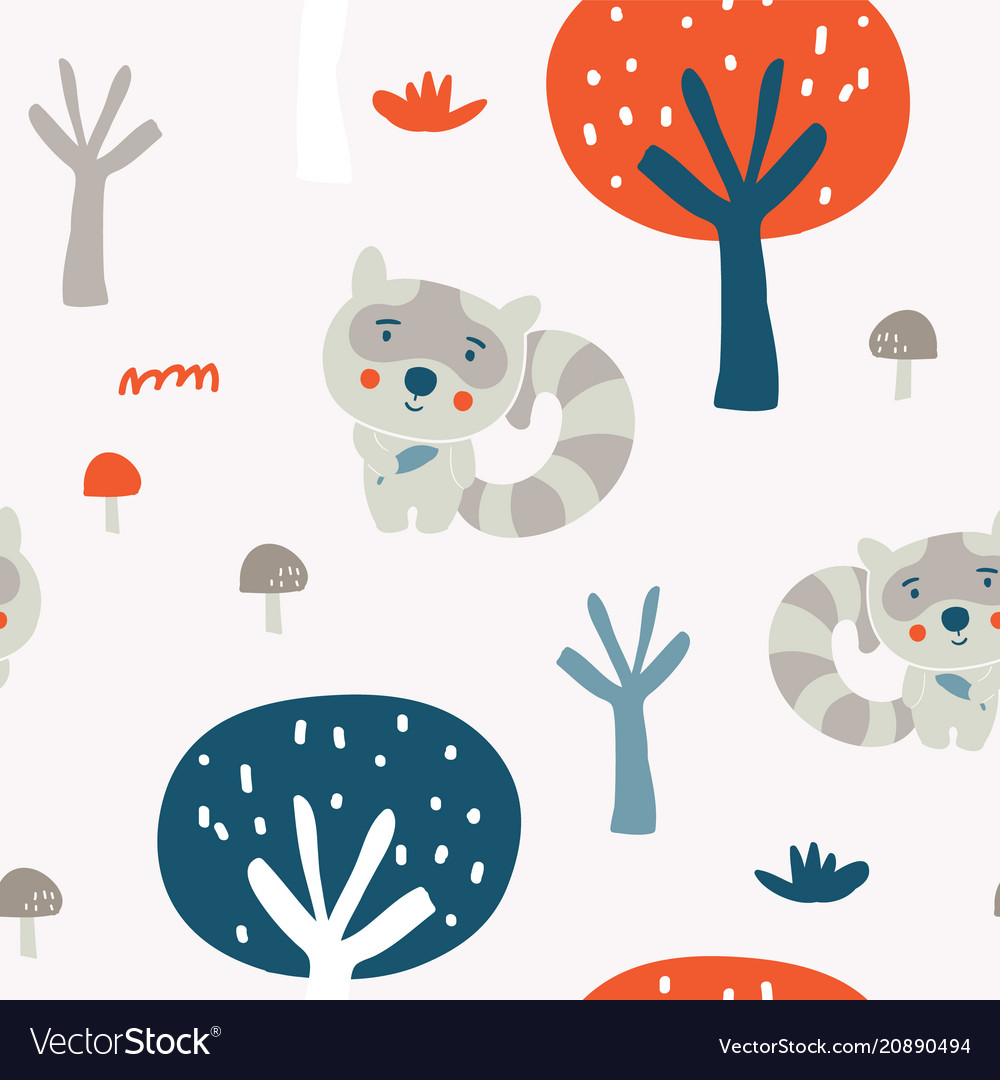 Cute racoon in the wood seamless pattern