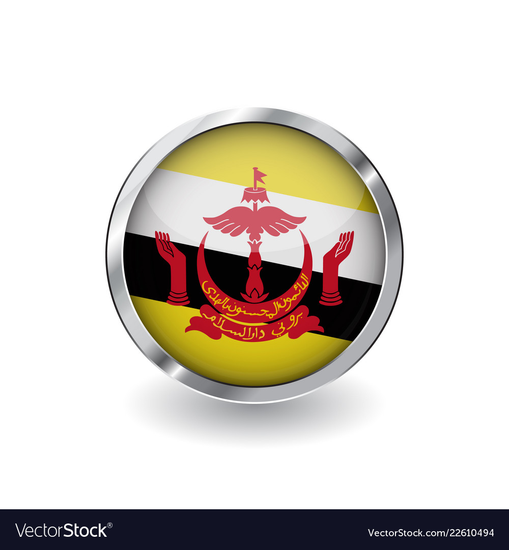 9eb156d0360e Flag of brunei button with metal frame and shadow Vector Image