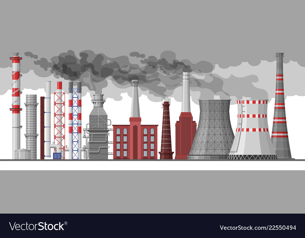 Industry factory industrial chimney Royalty Free Vector