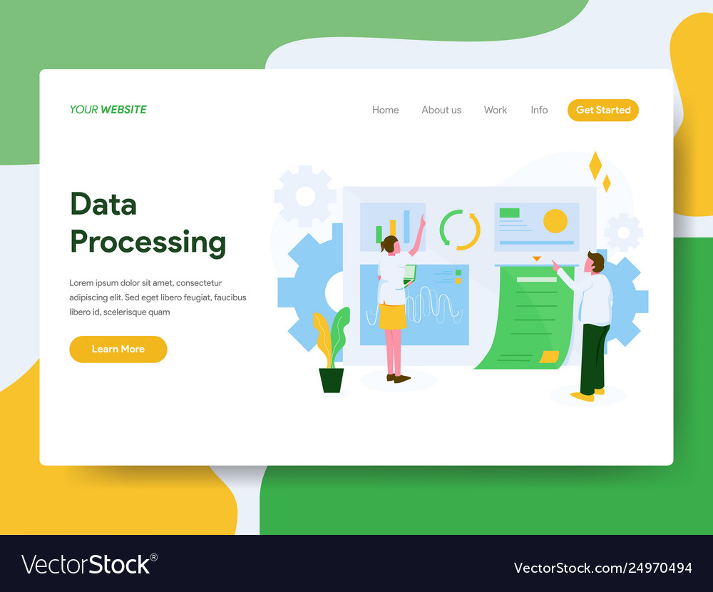 Landing page template data processing concept