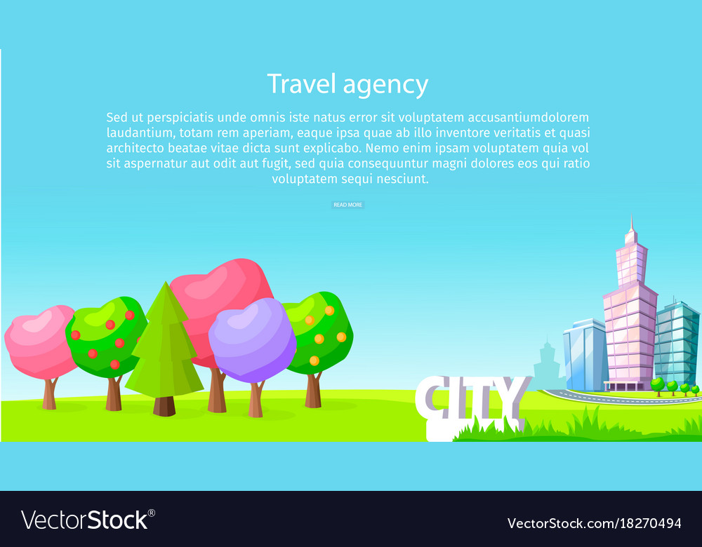 Travel agency poster with trees and skyscrapers
