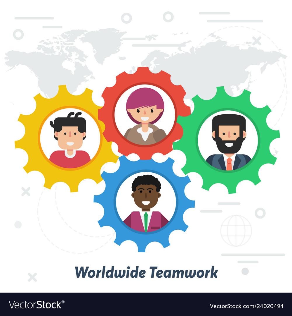 Worldwide teamwork concept in flat style
