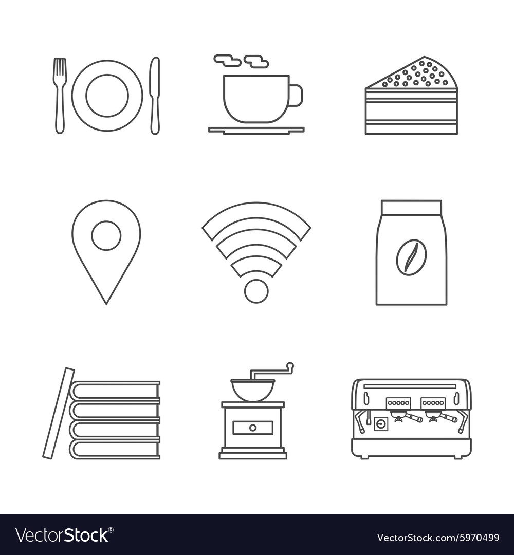 124coffee shop icon outline