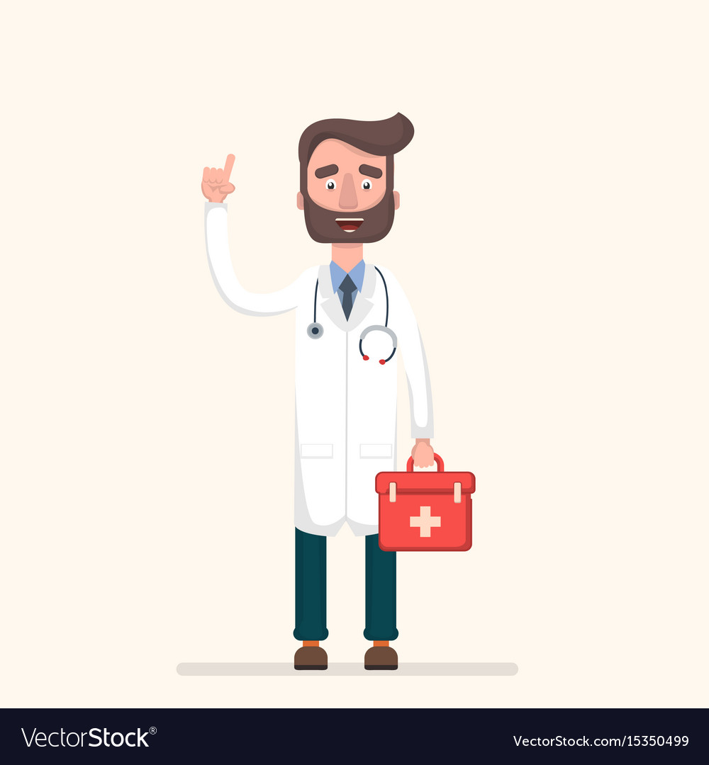 A handsome male doctor with a beard lifting a vector image