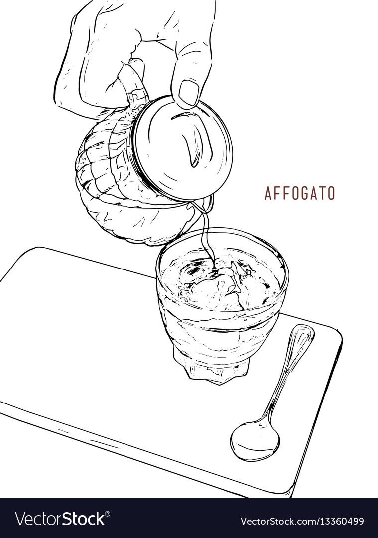 Affogato coffee hand drawn sketch line art