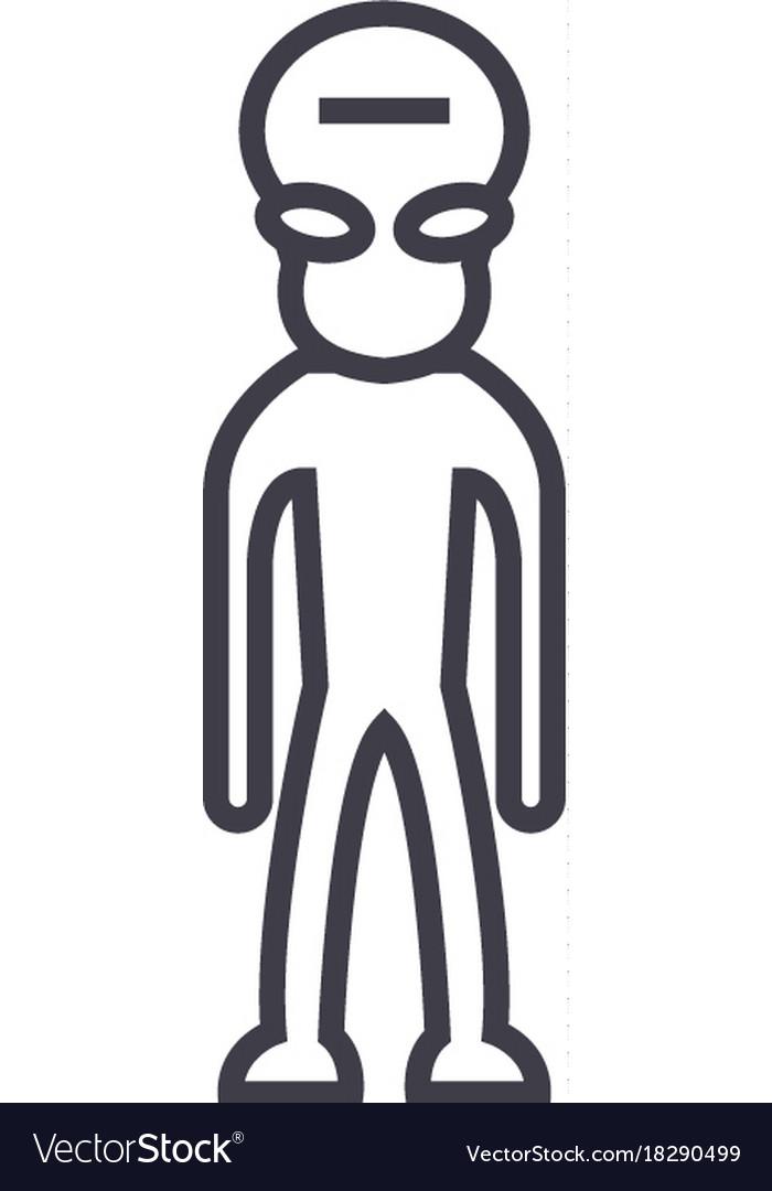 Alien Concept Thin Line Icon Symbol Sign Vector Image