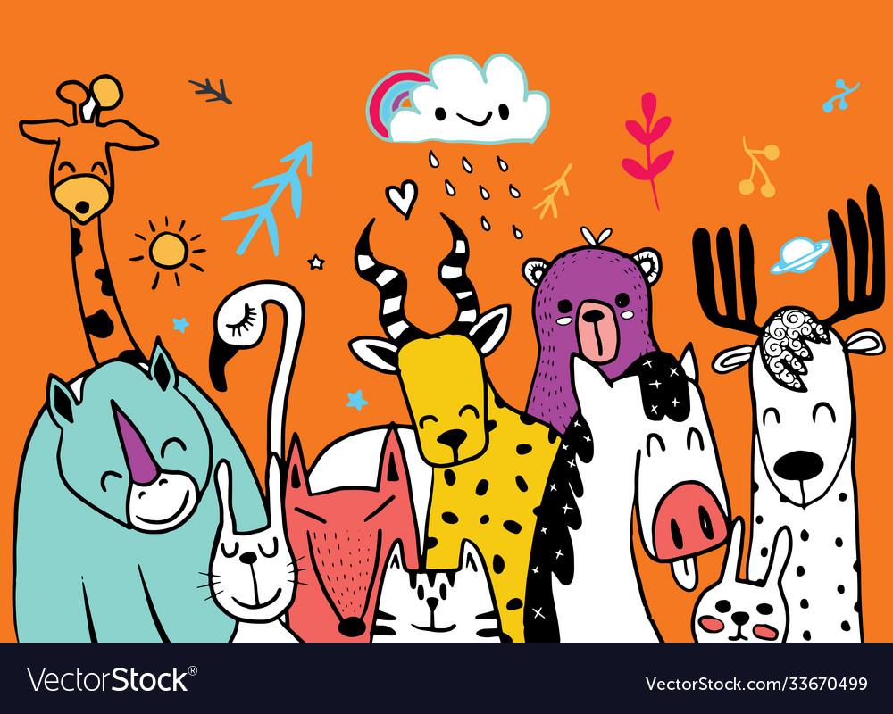 Animal cartoon set cute cartoon sketch animals for
